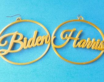 Biden/Harris Earrings, 3D Printed in Gold Tone Biodegradable Plastic