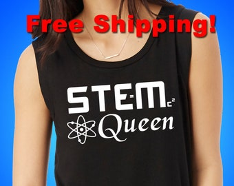 STEM Queen T-Shirt; Alternative Apparel Cap Sleeve Satin Jersey Crew or Keeper Vintage Iris Crew