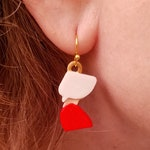 Handmaid's Wings Earrings with 14k Gold Plated or Stainless Steel Hooks, 3D Printed Hand Painted with Acrylic Paints
