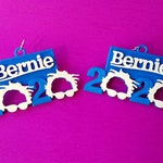Bernie Sanders 2020 Earrings, 14k Gold Plated or Stainless Steel Hooks, 3D Printed in Biodegradable Plastic