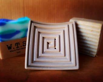 Soap Dish, Square Spiral, 3D Printed Wood Color Biodegradable Plastic