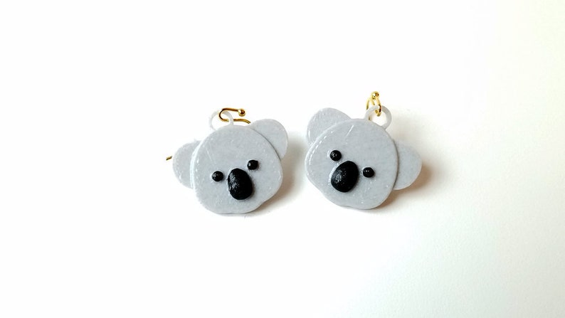 Koala Earrings Brown/Gray with 14k Gold Plated or Stainless Gray