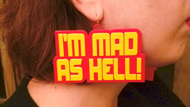 Large I'm Mad As Hell Statement Earrings In Yellow or image 0