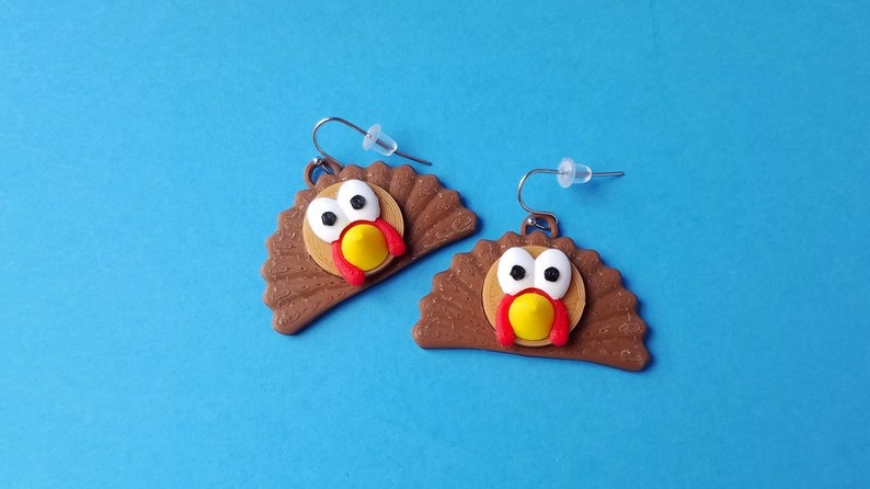 Thanksgiving Turkey Earrings with 14k Gold Plated or Stainless image 0