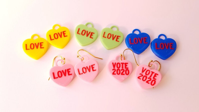 Candy Hearts Earrings Multiple Color Choices with 14k Gold image 0
