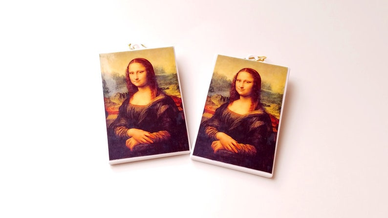 Mona Lisa Earrings Leonardo da Vinci with 14k Gold Plated or image 0