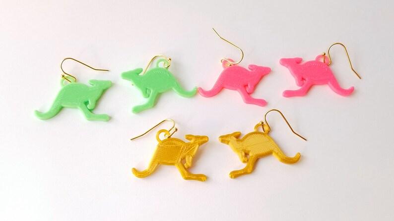 Kangaroo Earrings Multiple Colors 14k Gold Plated or Yellow