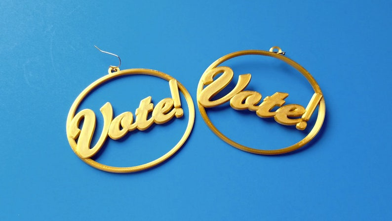 Vote Earrings Multiple Color Options 3D Printed Gold Tone