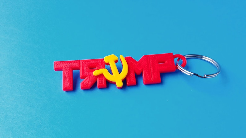 Russia Trump Keychain 3D Printed with Red and Yellow PLA image 0