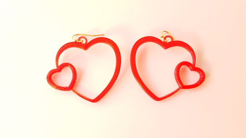 Love Hearts Earrings with 14k Gold Plated or Stainless Steel image 0