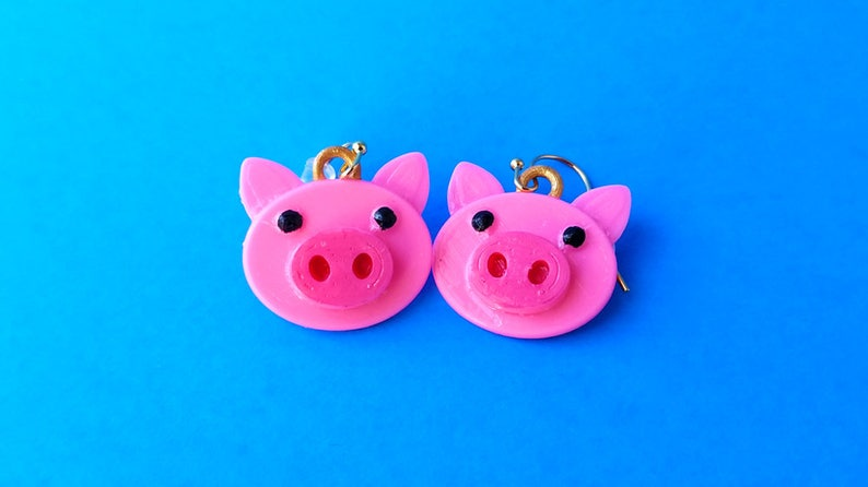 Piggy Earrings with 14k Gold Plated or Stainless Steel Hooks image 0