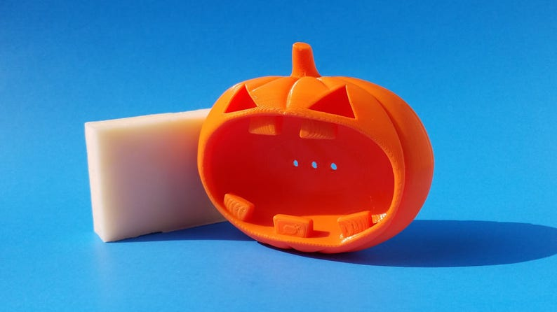 Soap Dish Halloween Jack O' Lantern 3D Printed in Orange image 0