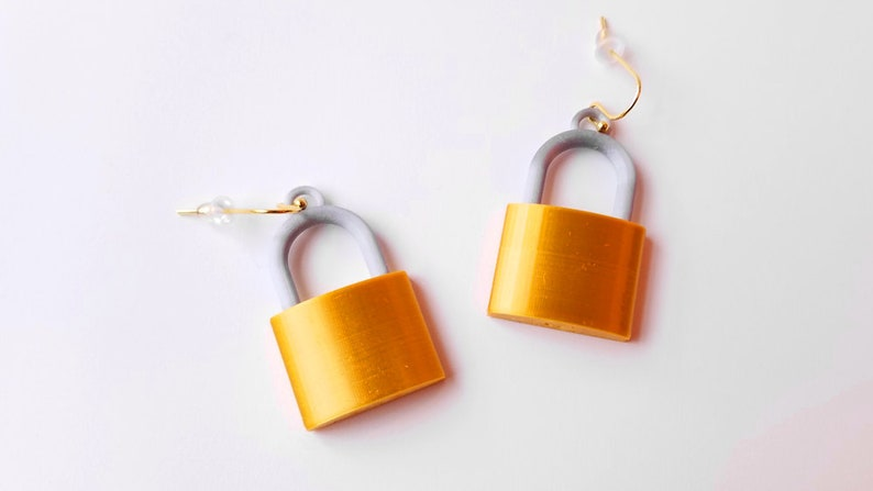 Padlock Earrings Very Lightweight 3D Printed with 14k Gold image 0