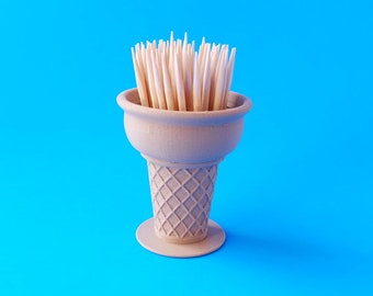 Toothpick Holder, Ice Cream Cone Design , 3D Printed Wood Infused Biodegradable Plastic