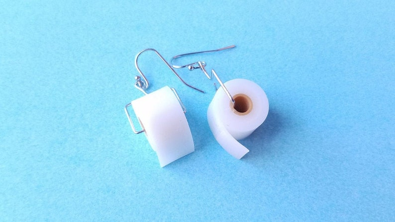 Toilet Paper Roll Earrings with 14k Gold Plated or Stainless image 0