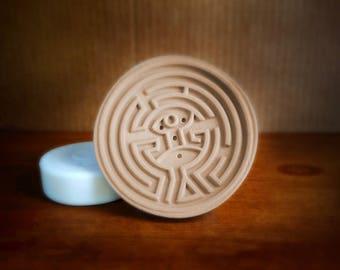 Soap Dish Maze, Round, 3D Printed Wood Color Biodegradable Plastic