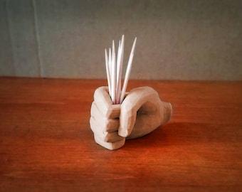 Toothpick Holder: Chiseled Fist, 3D Printed Wood Color Biodegradable Plastic