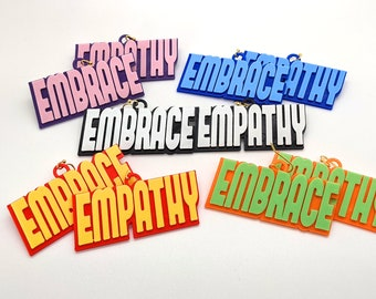Embrace Empathy Statement Earrings, In Multiple Color Combinations, with 14k Gold Plated or Stainless Steel Hooks, 3D Printed
