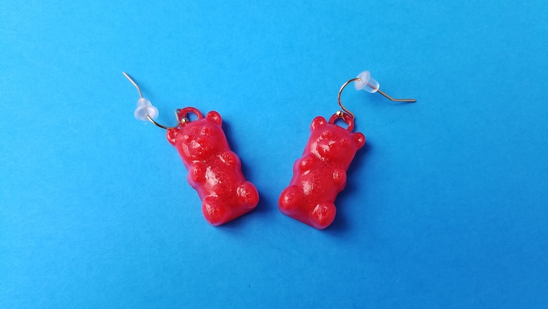 Gummy Bear Earrings with 14k Gold Plated or Stainless Steel image 0