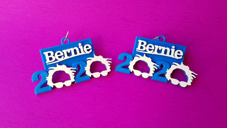Bernie Sanders 2020 Earrings 14k Gold Plated or Stainless image 0