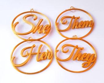 Pronouns Earrings, Gold Metallic Tone Biodegradable Plastic, 3D Printed