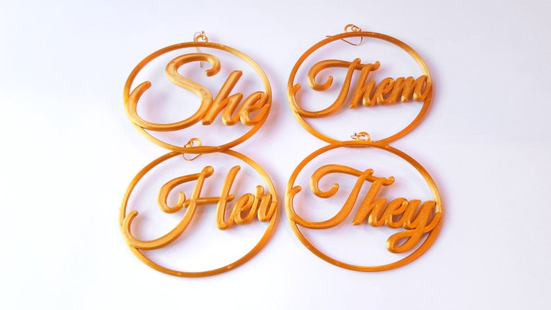 Pronouns Earrings 3D Printed in Gold Tone Biodegradable Her/Them