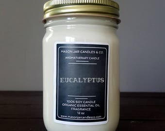Eucalyptus Essential Oil Candle. Organic Essential Oil, Aromatherapy Candle, Essential Oil Candle, Mason Jar Candle, Soy Candle, Vegan Scent