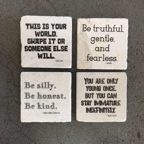 Inspirational Quotes Coasters Set Of Any Four Gandhi