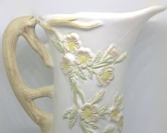 Vintage Pitcher Decorated with Dogwood and Branch Handle