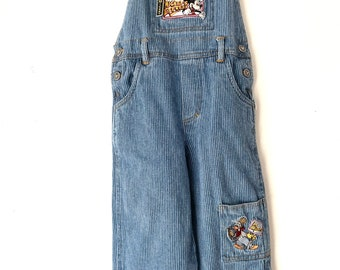 Denim Bib circa 1990/'s RARE Vintage Mickey Mouse ABC/'s First Alphabet Overalls Baby Mickey Size 18mo2T