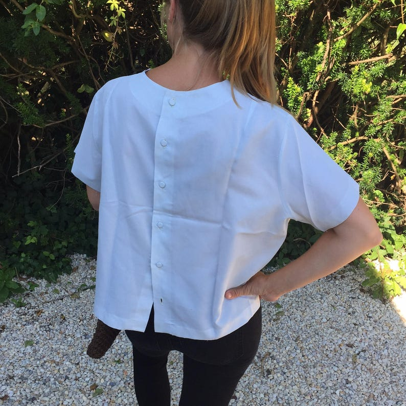 Vintage Eyelet Blouse With  Back Button Details