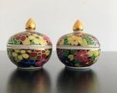 Vintage,Benjarong Lidded Jars,Thai Porcelain,Thai Pot,Thai Lidded Bowl,Floral Trinket Box,Floral Lidded Bowl,Thai Ceramic Box,Home Decor