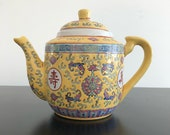 Vintage,Chinese Teapot Wan Shu Wu Jiang,Yellow Teapot,Asian Interiors,Chinoiserie,Home Decor,Chinese Pottery,Teapot,Yellow