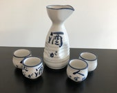 Vintage,Sake Set,Japanese Pottery,Sake Bottle,Sake Cups,Japanese Interiors,Sake