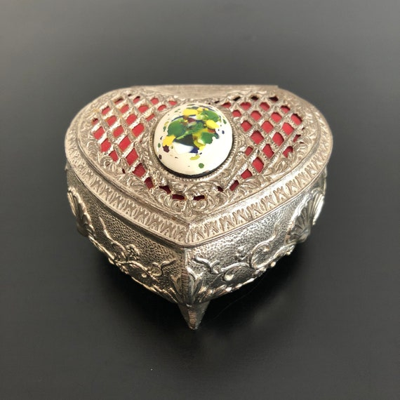 Silver Tone Metal Brighton Jewelry Box Fill Your Heart 2 Heart Compartments Mint Brighton Brown Heart Jewelry Box Elegant Black Swirls