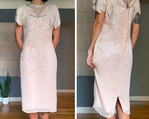 80s Handmade Shell Pink Beaded Dress
