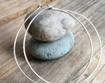 Large sterling silver hoop earrings, Super light weight