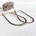 Rain Drop Hoops // Gold Hoop Earrings // Oval Hoop Earrings // Minimalist Earrings // Geometric Hoops