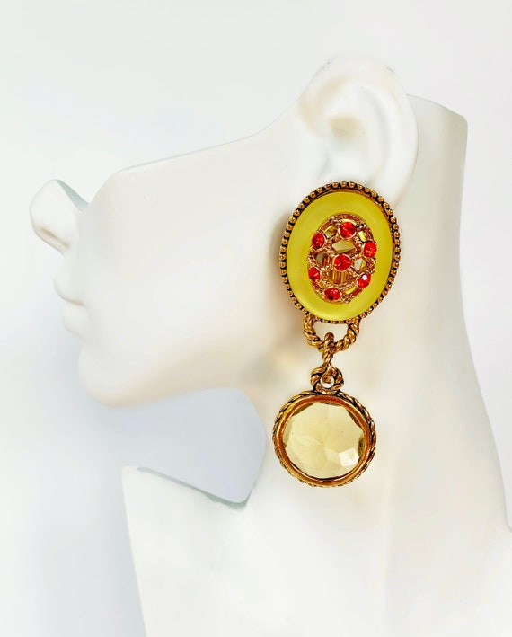 CLAIRE DEVE MASSIVE 80s Vintage French Earrings - image 1