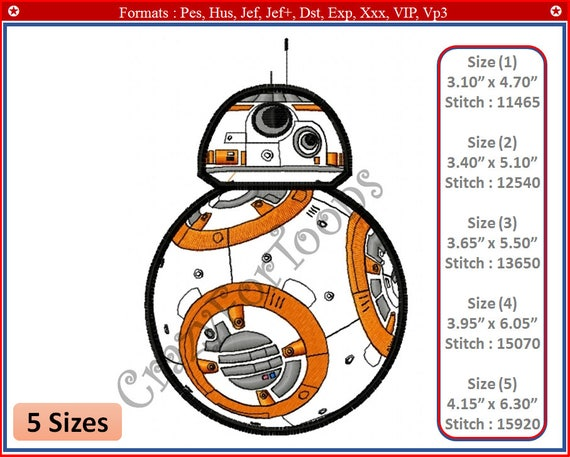 Bb8 Star Wars Embroidery Designs All Formats Design 2 Etsy