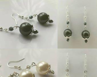 Dark Grey Swarovski Crystal Pearl dangle drop earrings, Bridal, wedding, gift. Pearl earrings