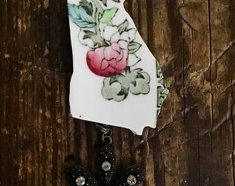 Vintage Broken China Georgia Flower Necklace