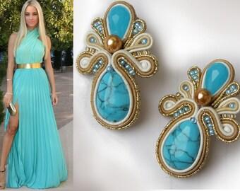 Earrings, soutache earrings, turquoise,  little  earrings, blue earrings,white earrings, gold earrings, soutache necklace