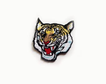 966db3d190942 1x roaring Tiger PATCH biker rock bengal head face jungle wild Iron On  Embroidered Applique for custom jacket