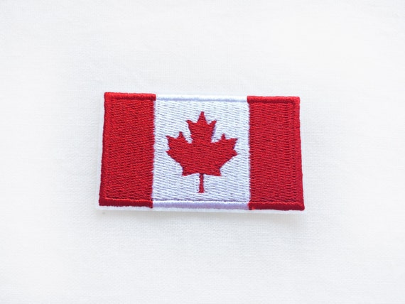 Maple Leaf Red Set of 2 Iron On Sew On Embroidered Patch Appliques Craft