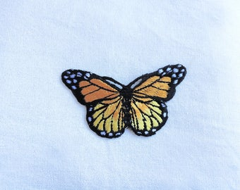 1X orange yellow butterfly romantic fashion Iron On Embroidered Patch Applique