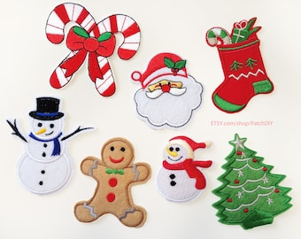 Christmas Iron On PATCH selection Snowman Tree Santa Claus Stocking Sugar Cane  Embroidered holidays decorations DIY winter applique