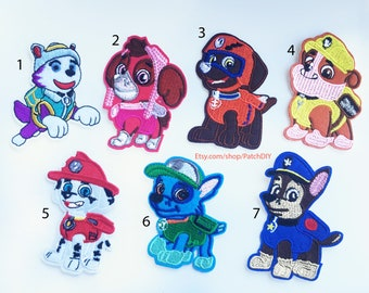 Patch PAW PATROL rescue dogs custom Iron On Embroidered Applique cartoon tv DIY clothes shoes costume boy girl fun kid
