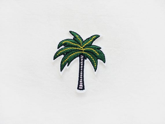 Embroidered Iron On Applique Patch Summer Beach Palm Tree Tropical