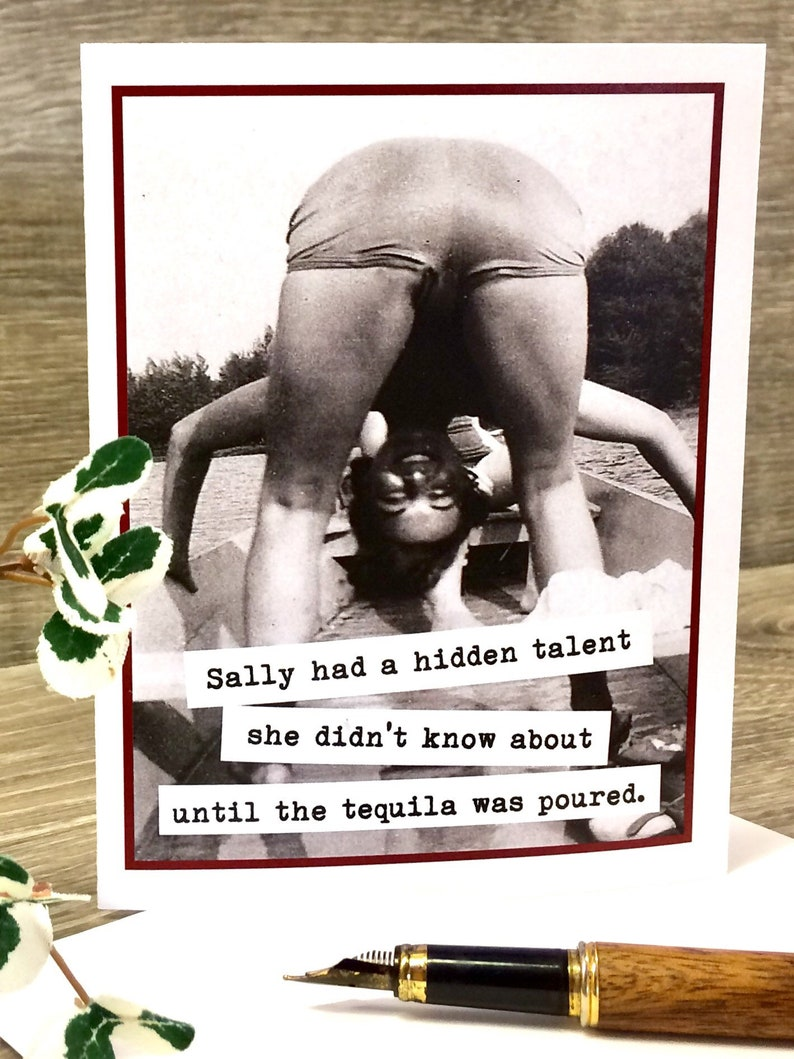 Funny Card for Tequila Drinking Gal Funny Tequila Card Funny Vintage Photo Card